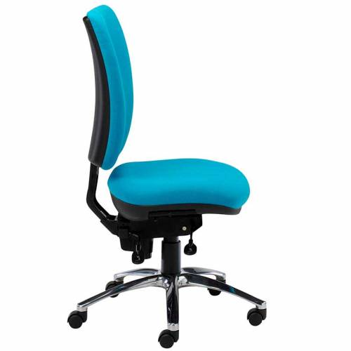 Light blue desk chair with chrome swivel base