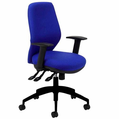 Blue desk chair with black arms