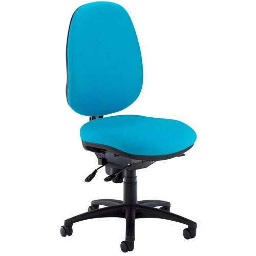 Blue desk chair with black swivel base