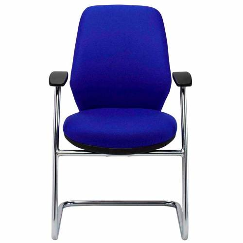 Blue meeting chair with fixed arms and chrome cantilever base