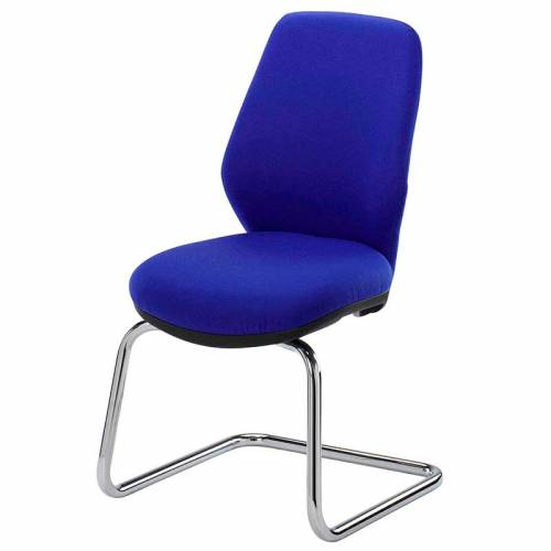 Blue meeting chair with chrome cantilever base