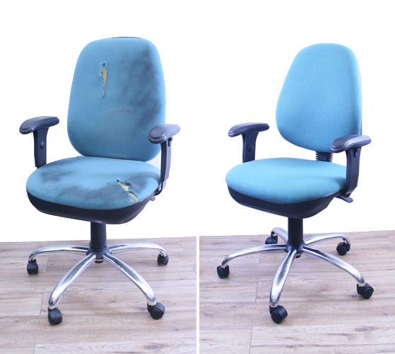 office chair reupholstery. beforeafterofficechairrenovation01 office chair reupholstery