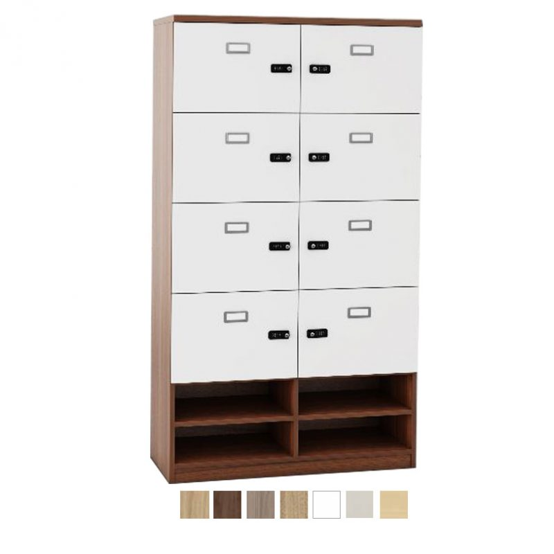 8 door wooden personal storage locker