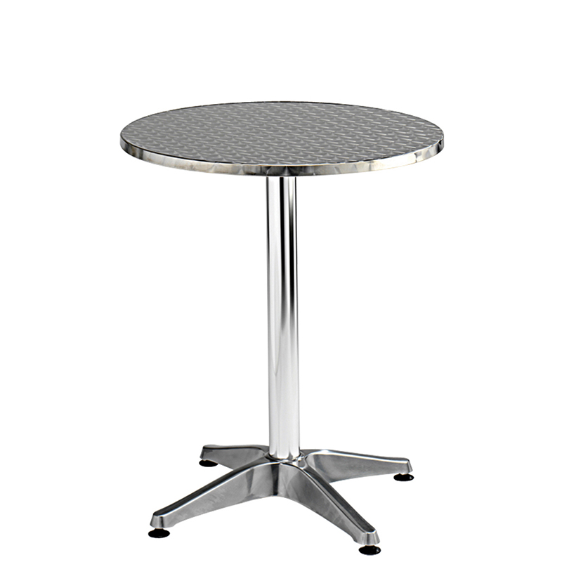 Tall round silver bistro table