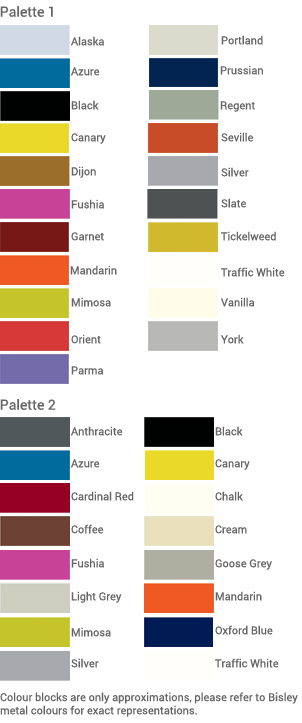 Bisley MySpace colour palettes