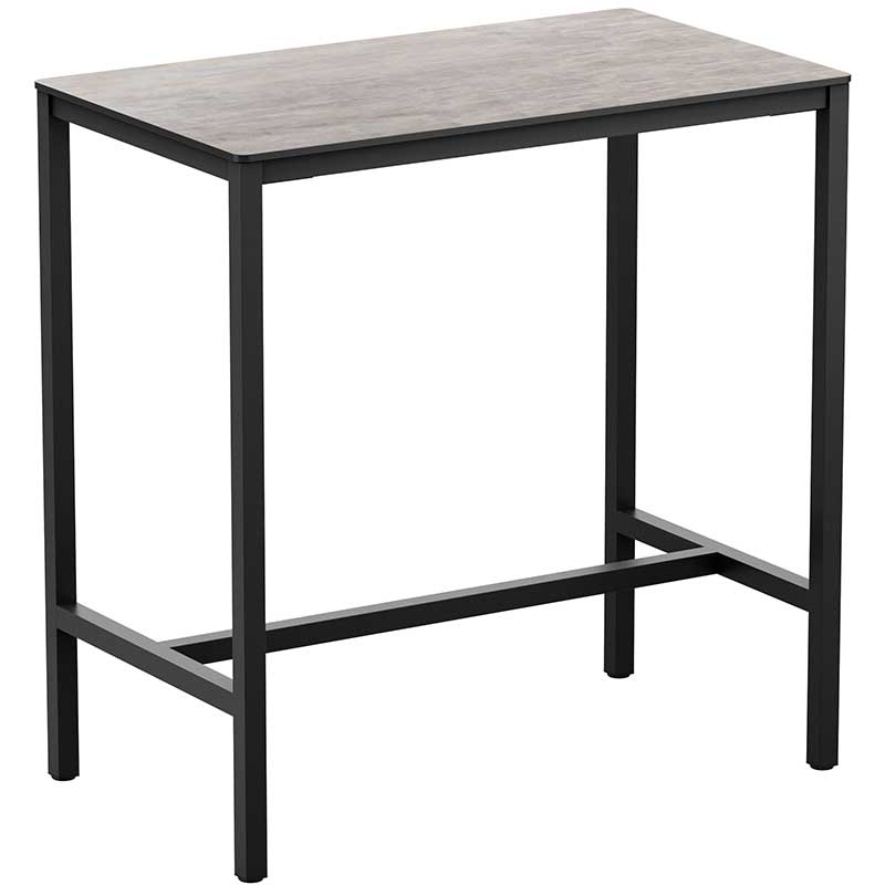 Extrema rectangle bar table with a cement top