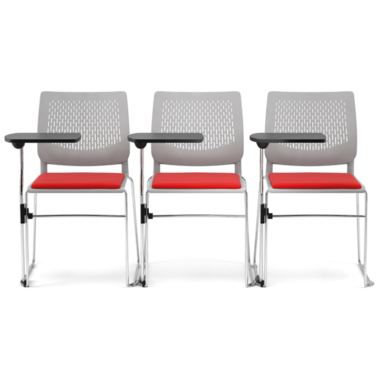 3 white and red chairs