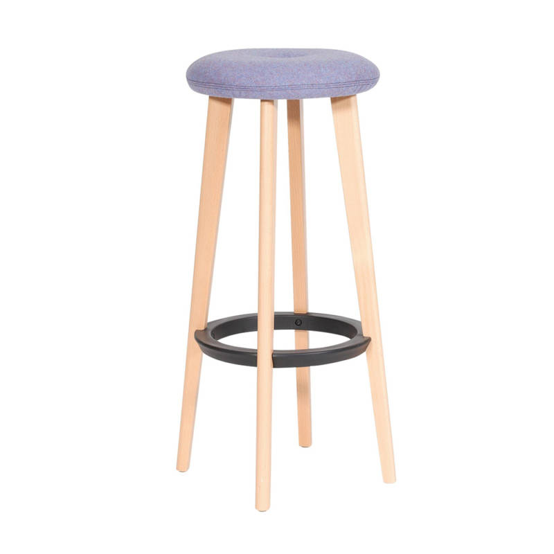 Gem high stool with wooden legs and blue seat
