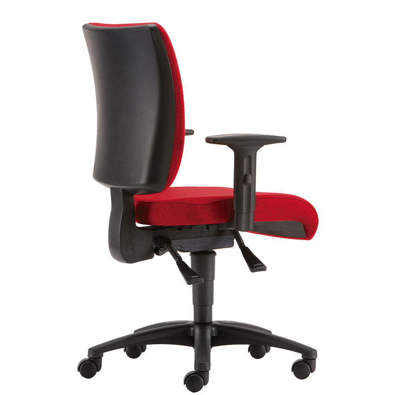 Red padded office chair with black base