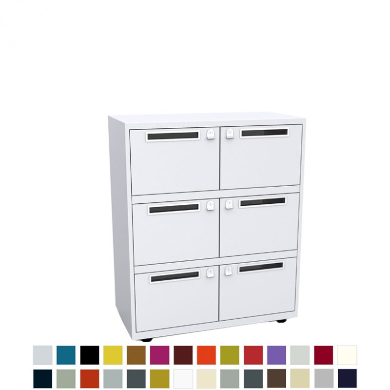 White storage unit with 6 doors, each with a postal slot