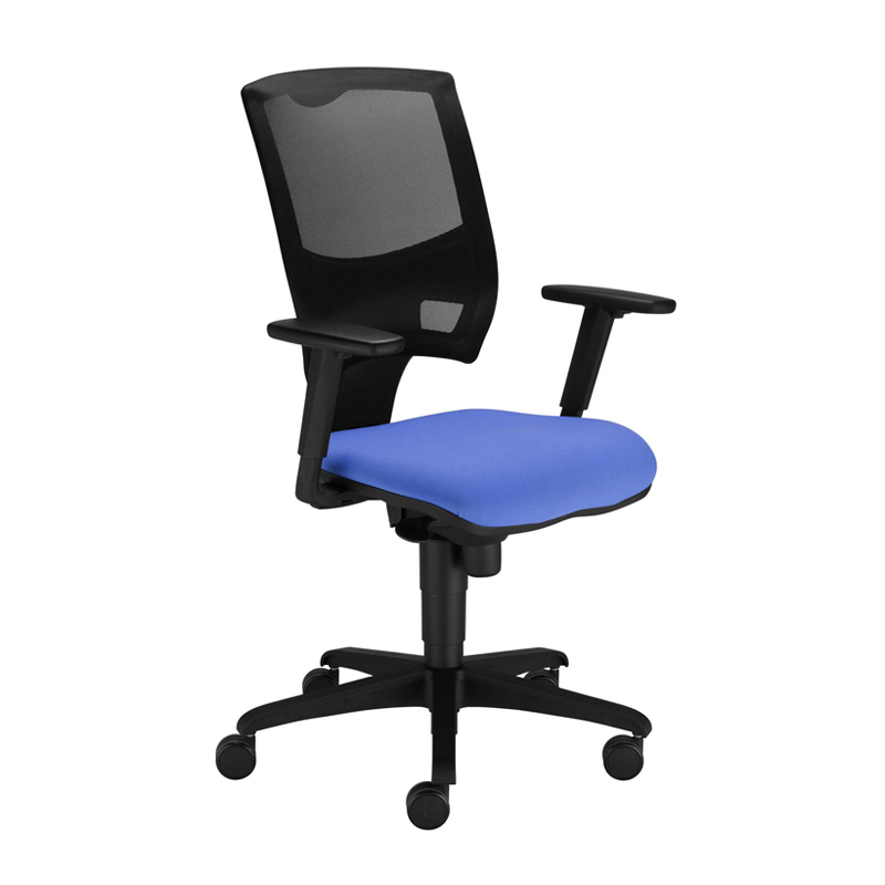 Desk chair with blue seat and black mesh back