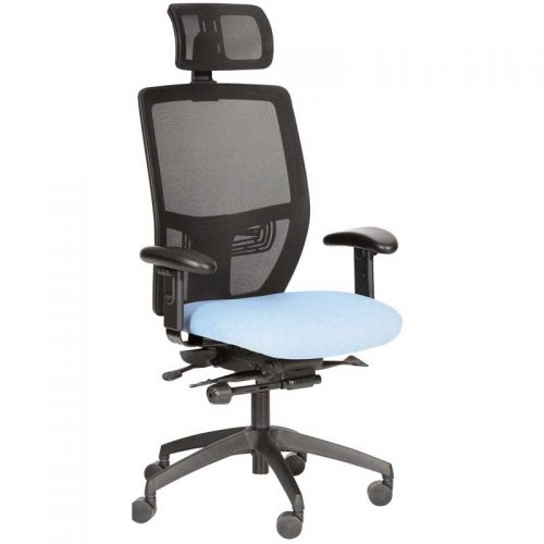 Desk chair with pale blue seat, black mesh back and headrest, and black base