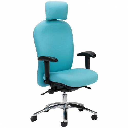 Blue desk chair with headrest