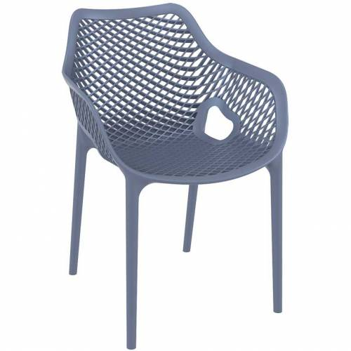 Dark blue chair with mesh effect on seat and back