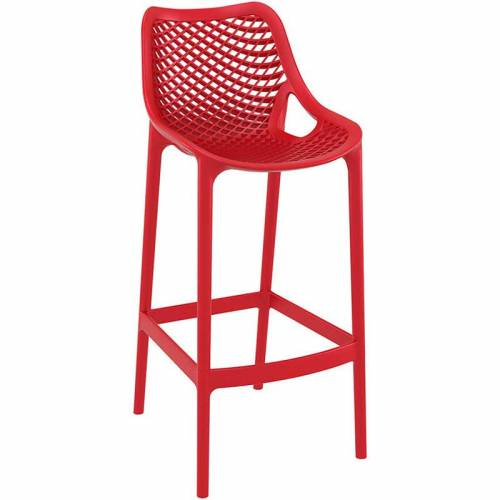 Red bar stool with mesh effect on seat and back