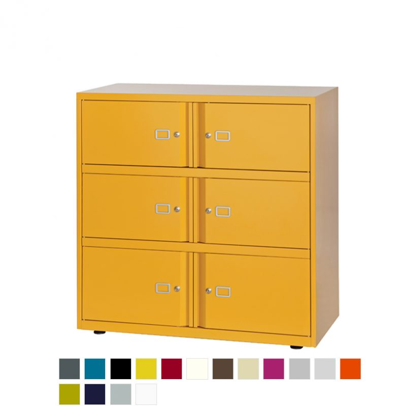 Yellow filing storage unit with 6 doors