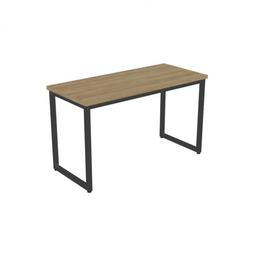 Sled table with wooden top and black sled legs
