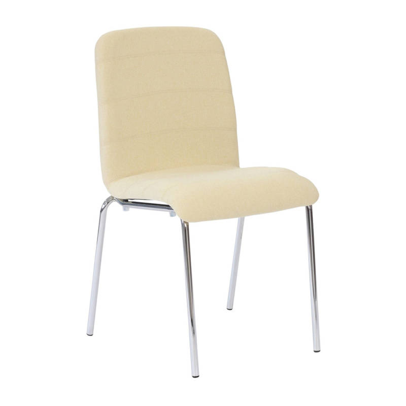 Ultra chair with chrome legs and cream upholstery