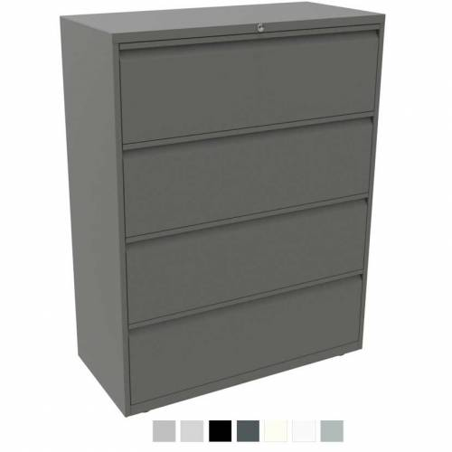 Grey filing cabinet with 4 drawers