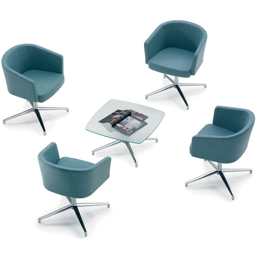 4 blue tub chairs and a coffee table