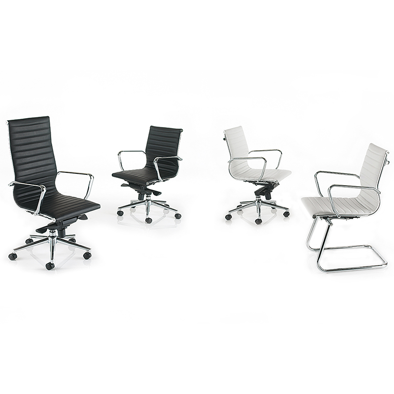 Four leather chairs with chrome bases