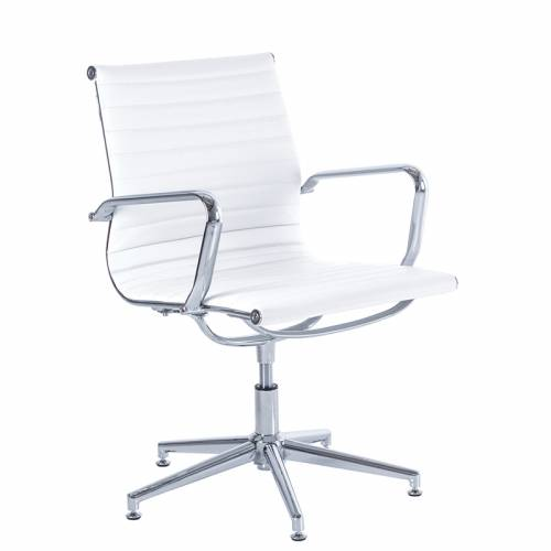 Aria AM3 white leather swivel meeting chair