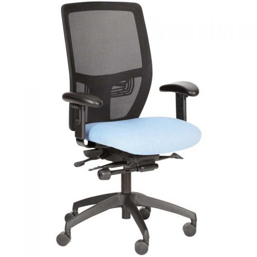 Desk chair with pale blue seat, black mesh back and black base