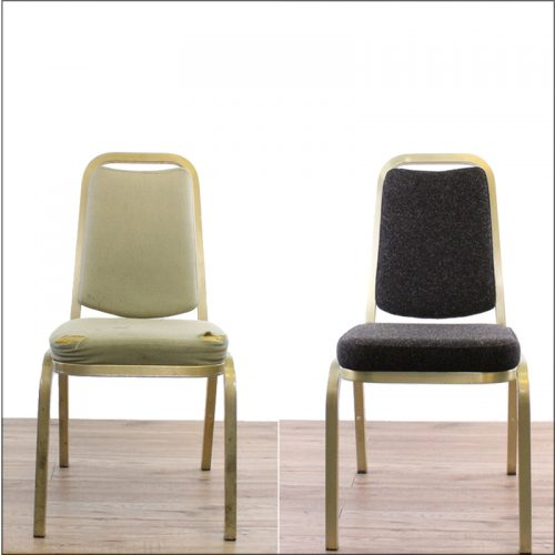 Banquet chair reupholstery - before and after