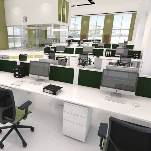 Large office with white desking system and green and black chairs