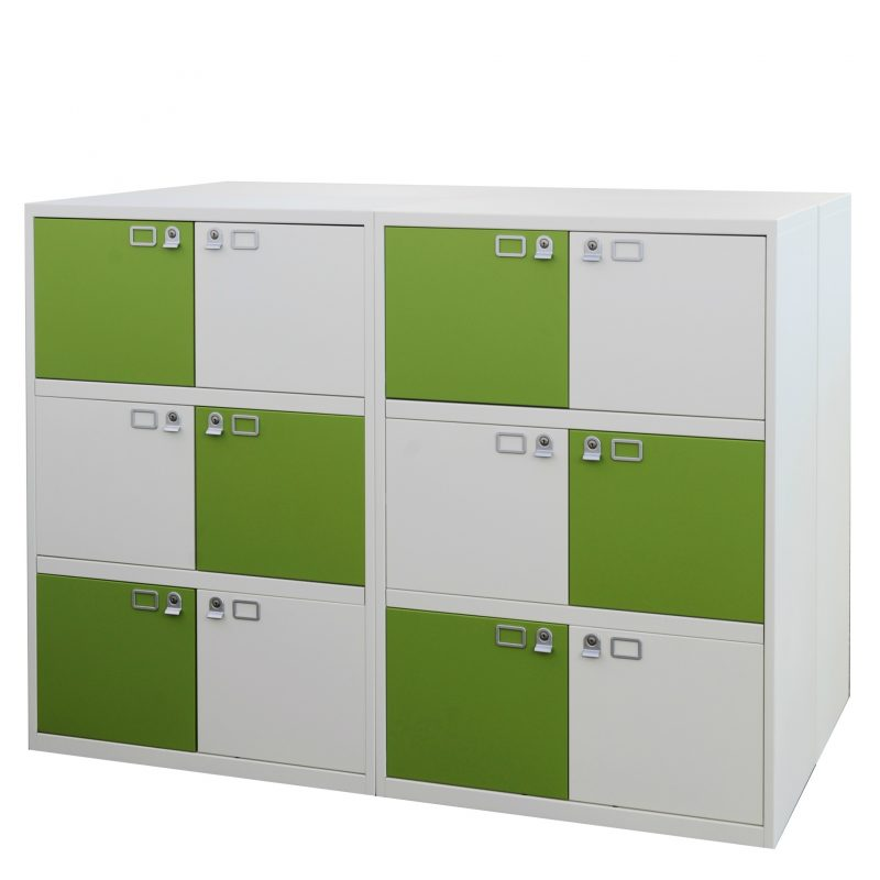 Green and white office storage