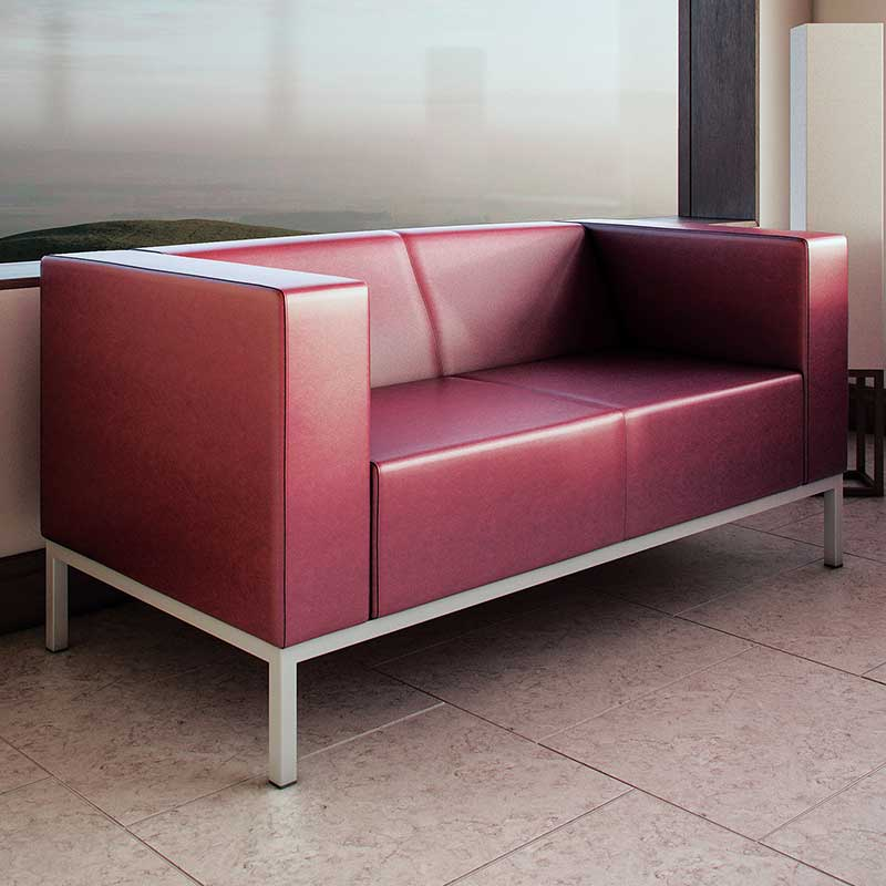 Maroon two seater sofa in a leather finish
