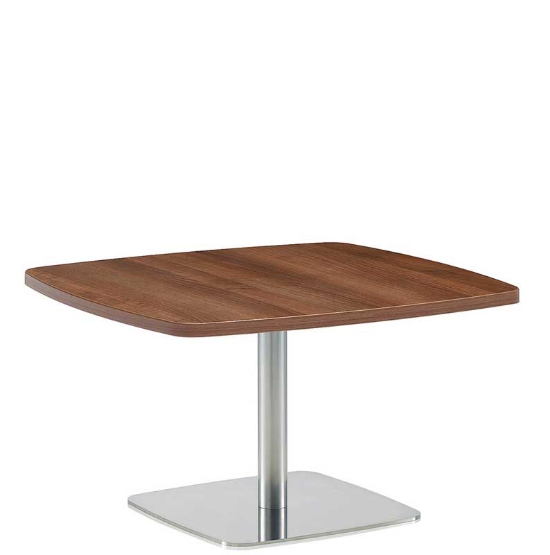 Rectangular coffee table with wooden top and chrome leg and base