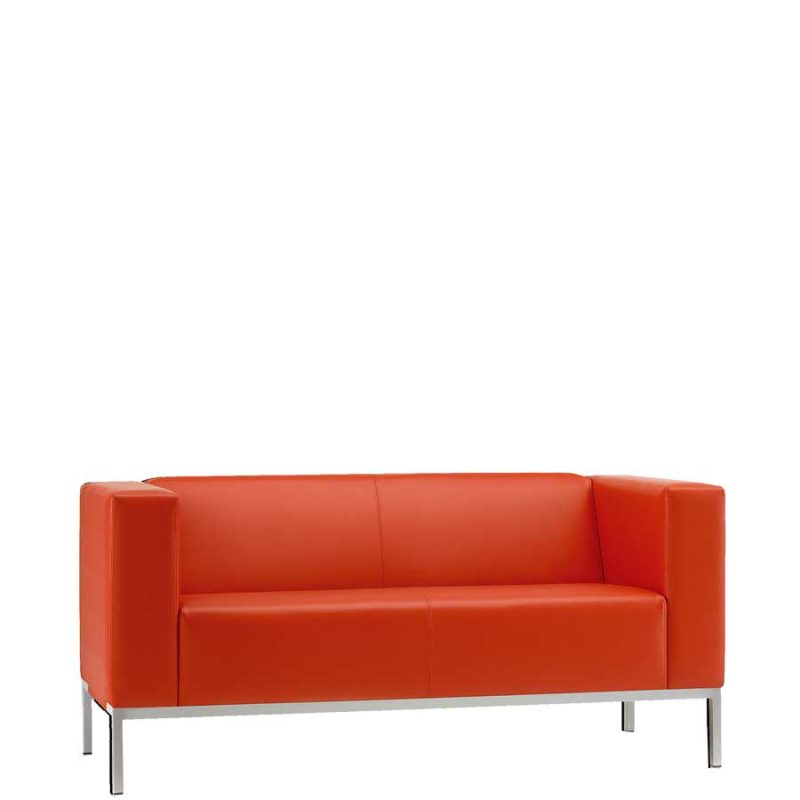 Bright red two seater sofa in a leather finish