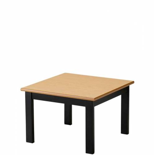 Square coffee table with wooden top and black legs