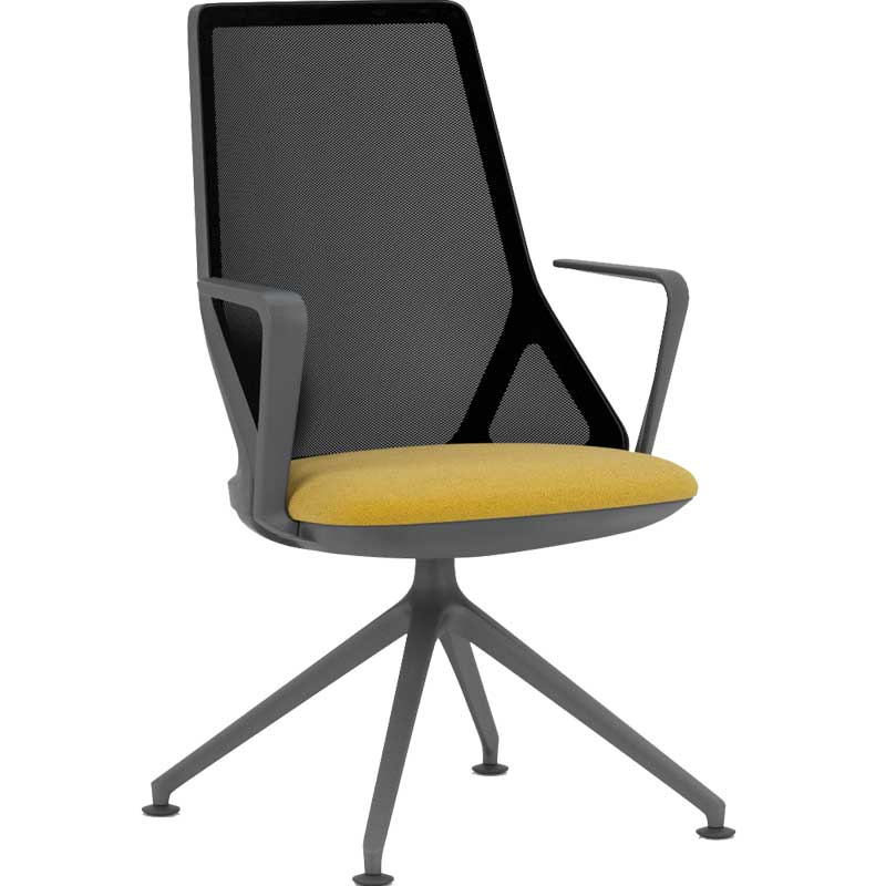 Cicero office chair with green seat, high black mesh back and black arms