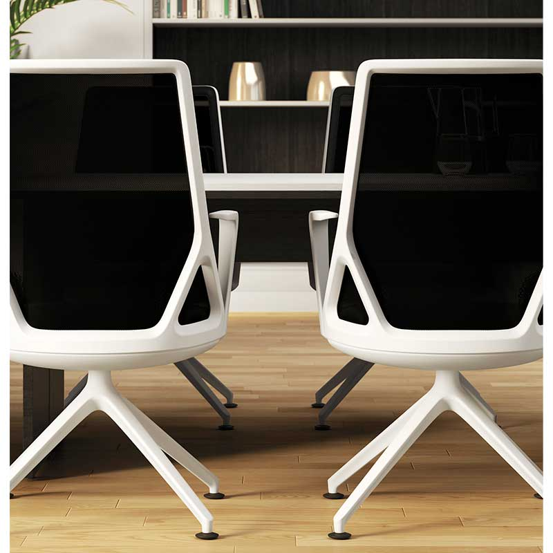 Office chairs with white frame and black back