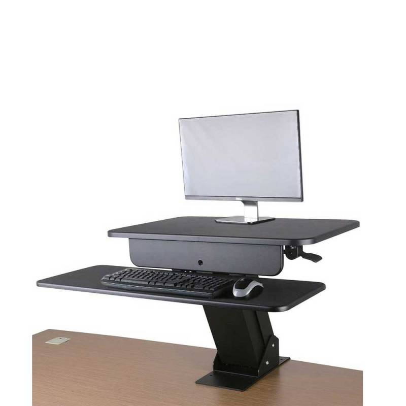 Computer screen and keyboard raised up on a desk converter