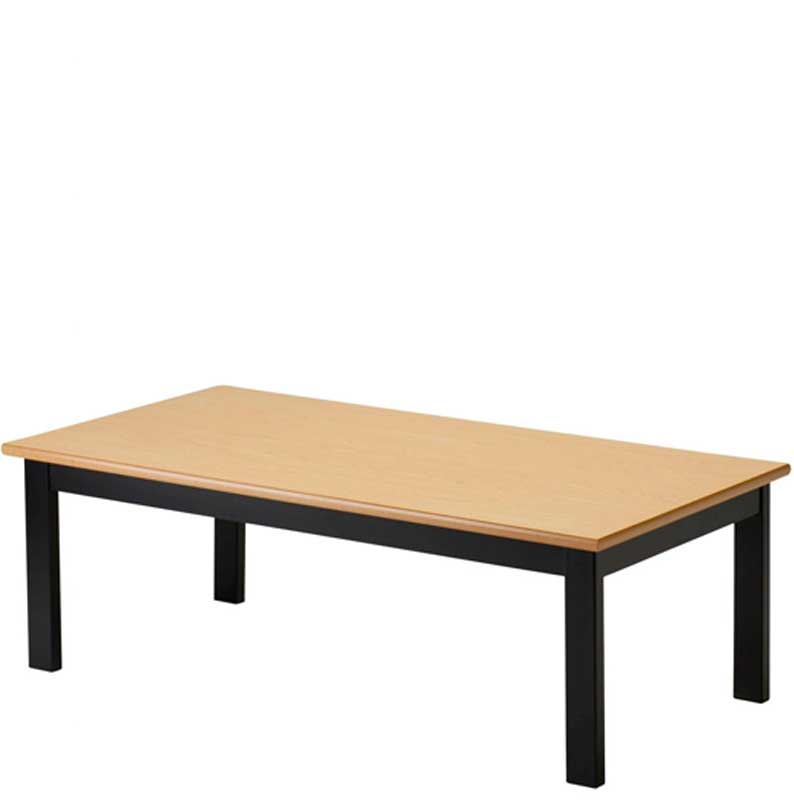Rectangular coffee table with wooden top and black legs