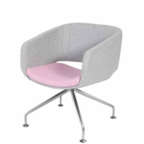 Breakout or reception chair with pale pink cushioned seat and pale grey back and sides