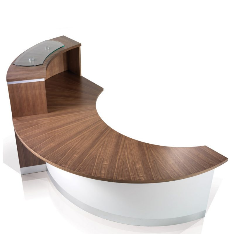 Eborcraft Crescent Reception Desk With Upper Counter