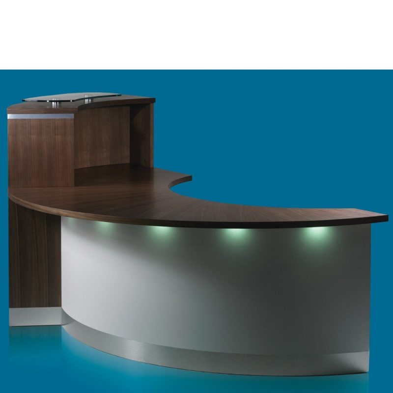 Eborcraft Crescent Reception Desk Under Counter Lighting