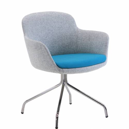 Padded chair with blue seat and grey back and sides
