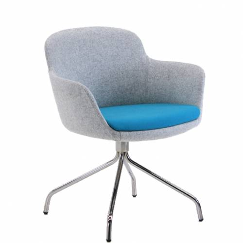Padded swivel chair with blue seat and grey back and sides