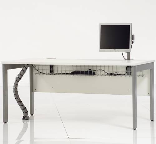 Rectangular white desk with monitor on it