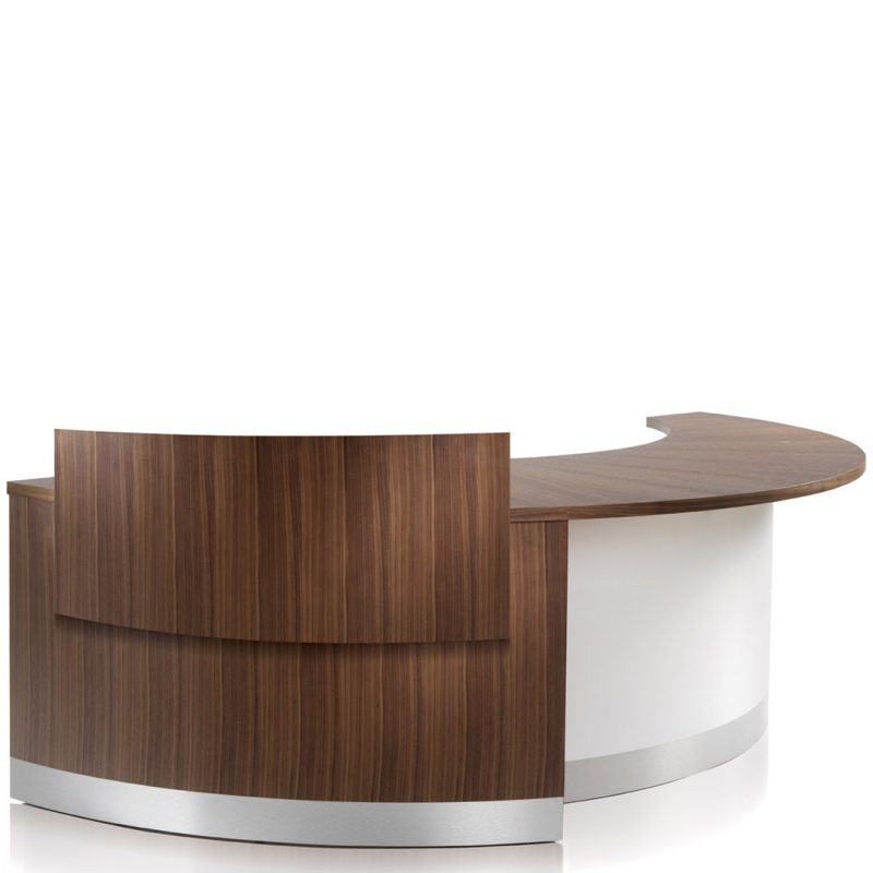 Eborcraft Crescent Reception Desk With Privacy Screen