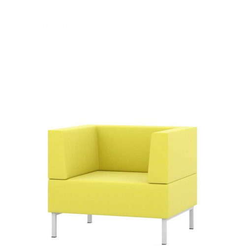 Yellow armchair with high arms