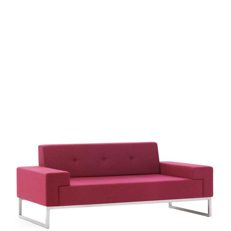 Sofa upholstered in red fabric