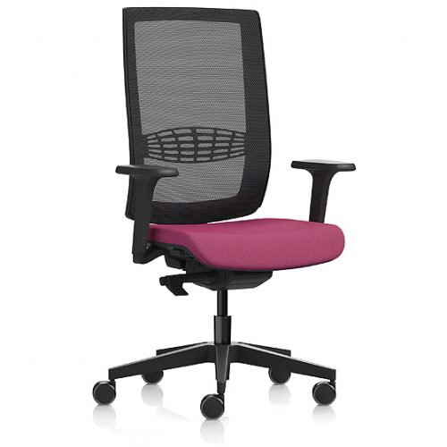 Desk chair with red seat and black mesh back