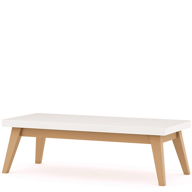 Rectangular white table with wooden legs
