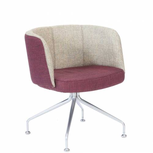 Chair with cushioned maroon seat and beige back